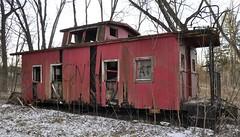 Reynoldsburg, Ohio (4 of 8) (Bob McGilvray Jr.) Tags: wood railroad ohio red abandoned rotting train wooden tracks caboose cupola oh bo abused trashed reynoldsburg baltimoreohio c2208