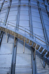 Around the Silo Steps (Mike Wood Photography) Tags: ontario stairs rural steel farming steps silo lookingup staircase farms thamesville mikewoodphotography