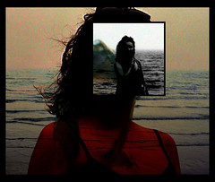 The Sea: Self Portrait (Fanny Janssen OAP) Tags: sea portrait face manipulated self waves layers digitally the layered