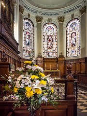Church Flowers (Johnners61) Tags: old uk england building history church architecture lens manchester four lumix prime britain interior religion tranquility olympus calm architectural historic panasonic micro olympuspen tranquil thirds stanns stannssquare m43 14mm mft stannschurch microfourthirds epm2