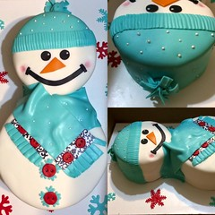 Dontated to Pine Forest Elementary Snowman cake by Sonya, Jacksonville, FL, wwwbirthdaycakes4free.com