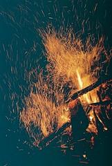 Sparks Fly (Rachael.Robinson) Tags: winter light canada color film 35mm island fire flames bonfire fujifilm sparks campobello