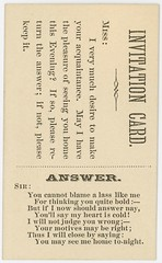 Invitation Card--I Very Much Desire To Make Your Acquaintance (Rotated) (Alan Mays) Tags: old men vintage paper cards typography women funny humorous poetry antique humor ephemera type poems choices fonts questions printed borders bold acceptance typefaces answers alternatives refusal parodies motives rhymes acquaintances callingcards invitationcards escortcards visitingcards acquaintancecards flirtationcards seeyouhome