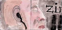 fremdartige Musik tropfte aus seinem Ohr und ergoss sich in den gesamten Zug (raumoberbayern) Tags: summer bus pencil subway munich mnchen sketch drawing sommer tram sketchbook heat ubahn draw bleistift robbbilder skizzenbuch zeichung