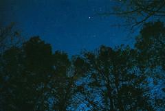 Night Sky over Bushkills, PA (marcporgy) Tags: trees moon film night stars fuji natura olympus astrophotography