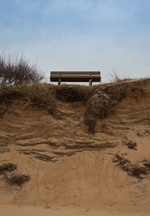 Bench for dangling feet (emilhallengren) Tags: sky beach bench sand dune drop dangling mellbystrand