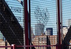 Williamsburg Bridge 02 of 07 (paulsvs1) Tags: nyc newyorkcity bridge blue sky urban art love brooklyn fence buildings wire heart williamsburg