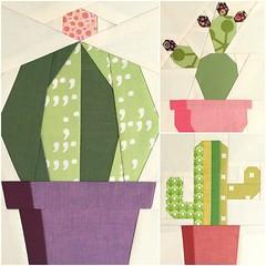Cactus Trio Paper Piece Pattern (Modern Quilting by B) Tags: cactus paper pattern quilt mini block piece