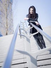 Nathalie, Amsterdam 2016: On top of the world (mdiepraam (35 mln views)) Tags: portrait girl beautiful dutch station amsterdam stairs pretty platform nathalie brunette elegant leatherjacket 2016 rietlandpark naturalglamour