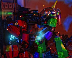 Duel of the Egos (Story in description) (BrickSev) Tags: man comics toy toys photography book dc iron comic power lego indoor books super ironman tony armor hero comicbook superhero scifi comicbooks sciencefiction heroes dccomics superheroes marvel stark lex diorama tabletop mechs mech powered minifigure luthor lexluthor minifigures toyphotography hulkbuster legophotography legocomics legomarvel legodccomics