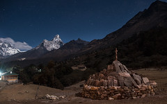 Two Summits (Andrei Doubrovski) Tags: mountains stone wall night mani ama starry amadablam dablam tengboche