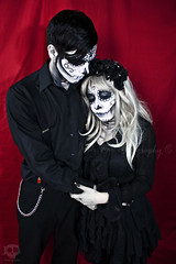 Even in death (JoDi War) Tags: flowers love dayofthedead dead skeleton photography death skull couple cosplay anniversary gothic models makeup celebration lolita diadelosmuertos undead facepaint sugarskull mexicantradition candyskull jodiwarphotography