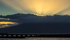 and the light spilled forth (dolanh) Tags: sunset clouds hawaii maui luau lahaina godlight oldlahainaluau malawharf