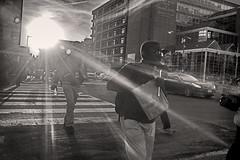 Fast Food Sunset (MikeSpeaks) Tags: blackandwhite washingtondc fastfood streetphotography mcdonalds crosswalk summaron35mmf35 ustreetdc