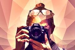 Manipulation-station! (pyffle) Tags: camera portrait selfportrait triangles photoshop nikon warmth polygons selfie cs6 photoshopcs6