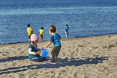 Sharing the sand bucket (photodesignch) Tags: ocean seattle sea beach water waterfront pentax takumar outdoor super adapter alki alkibeach limited smc pentax67 pentaxfa 4319 7718 10524 sonya7 pentaxfasmc7718limited pentaxfasmc4319limited p645k