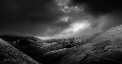 Dark Skies Over the Northern Fells (Dave Massey Photography) Tags: blackandwhite snow mountains dark moody lakedistrict cumbria fells newlandshause