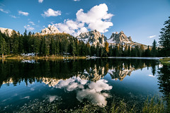 Three sisters (Andrea Securo) Tags: trees wild summer italy lake mountains never reflection trekking landscape outdoors hiking exploring stop wilderness mystic trentino dolomites peole veneto antorno