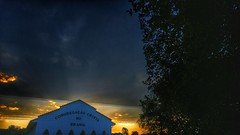 crepsculo vespertino (Rodrigo Alceu Dispor) Tags: sunset sky cloud building tree church wire line holy fx parallel crepsculo vespertino