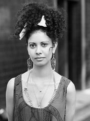 Sophia (Stelex) Tags: street portrait blackandwhite bw woman girl monochrome beautiful female gorgeous australia stranger brisbane queensland curlyhair