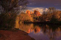 No words needed - Simply Reflect (John A. McCrae) Tags: sunset arizona usa reflection creek landscape outdoors pentax sedona redrock cathedralrock crescentmoonranchpark