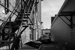Scenic City (Bert CR) Tags: street city urban blackandwhite bw monochrome blackwhite downtown backalley dirty fireescape sceniccity
