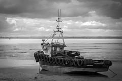 Survey boat 'Assassin' moored up in Leigh Creek (ho_hokus) Tags: uk sea england blackandwhite monochrome river boat riverthames essex leighonsea oldleigh 2016 thamesestuary leighcreek surveyboat fujifilmx20