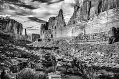Park Avenue (Marcela McGreal) Tags: blackandwhite bw white black byn blancoynegro blanco nature rock wall utah blackwhite nationalpark noir noiretblanc negro arches hike preto bn trail moab archesnationalpark bianco blanc nero pretoebranco schwarz bianconero bnw biancoenero parkavenue noirblanc blanconegro pretobranco weis towerarchtrail schwarzundweis