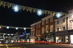 Farnham before the decs come down (sarah_presh) Tags: christmas decorations cars lights december trails surrey farnham weststreet 2015 nikond750