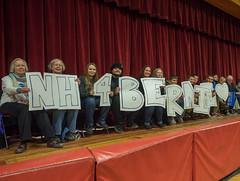 Bernie Sanders (John M Poltrack) Tags: new sign politics rally nh hampshire presidential politicians campaign primary auditorium 2016 berniesanders