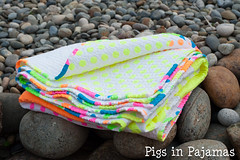 Neon quilt fold over (pigsinpajamas) Tags: neon quilt fabric batting layercake basting backing jellyroll rileyblake