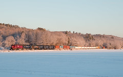 The benefits of being late (Thomas Coulombe) Tags: snow ice train sunrise photography winthrop maine panam frozenlake guilford freighttrain wapo maranacook guilfordrailsystem sd402m panamrailways emdsd402m