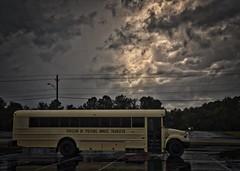 SORRY FELLAS! (NC Cigany) Tags: storm bus rain yellow clouds nc dismal northcarolina prison desolate depressing