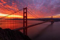 A Bridge to Mars (vats1234) Tags: sanfrancisco morning bridge mars colors clouds sunrise cityscape burn goldengatebridge califorina visitcalifornia alwayssf