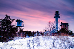 Whitefish Point Lighthouse (HikingJoe) Tags: winter sunset snow michigan upperpeninsula whitefishpoint
