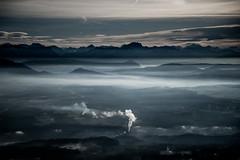 Au bord des Alpes (PaxaMik) Tags: blue mist alpes smoke hiver hills bleu brouillard montagnes fumée brumes