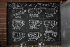 What's in your drink? (annburlingham) Tags: white black coffee sign chalk cafe many nine winner espresso taste chalkboard blackboard eastaurora onthewall tcf neutralcolors unanimous thechallengefactory march2016