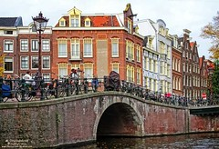 Prinsengracht Canal, Amsterdam, The Netherlands (PhotosToArtByMike) Tags: bridge holland netherlands dutch amsterdam canal bikes prinsengracht houseboats prinsengrachtcanal canalhouse grachtengordel canalring