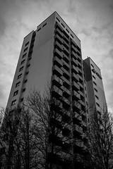 High Rise (xxremixx) Tags: white black building monochrome architecture germany bayern deutschland bavaria blackwhite high frstenfeldbruck highrise architektur monochrom rise gebude schwarz abstrakt hochhaus weis schwarzweis