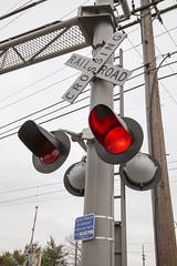 Railroad crossing sign, Fortuna station, Philadelphia, February 2016 (Rochdale 235) Tags: railroad usa philadelphia lights crossing pennsylvania transport rail railway septa railways regional southeasternpennsylvaniatransportationauthority