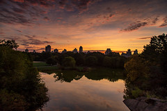 Turtle Pond Sunrise (Bob90901) Tags: newyorkcity autumn sky cloud newyork fall sunrise canon dawn october centralpark manhattan bluehour turtlepond belvederecastle 6d 2015 canonef24105mmf4lisusm cloudsstormssunsetssunrises