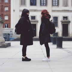 40/366 (abnormalbeauty.) Tags: winter girls friends portrait selfportrait scarf happy shoes memories windy redhead together openspace coats pure squared