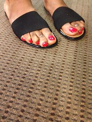 Revlon Roulette Rush nail polish (hyellow) Tags: red black feet toes long flat sandals unique polish nails revlon toerings