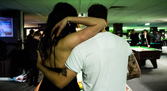 (The Annison) Tags: woman man game love pool beautiful sport bar couple indoor together hugs snooker