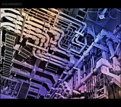 Jungle on the tween deck. Happy Valentines Day, Kristin! (KSGarriott) Tags: metal pattern mechanical steel pipes machine olympus maze network pressure piping hdr omd hydraulic bends hpu tonemap 1240mm flanges ksgarriott scottgarriott fhotoroom em5ii