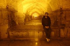 Portrait under a bridge ~ took in the night. (Go Go Janet) Tags: bridge portrait iran esfahan underabridge khajubridge iranianman