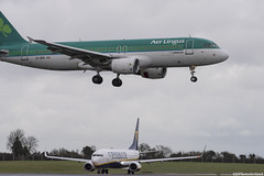 Two Aircraft (jsphotosireland) Tags: ireland dublin plane airplane aircraft mel landing ryanair eider aerlingus irl undercarriage airbusa320 boeing737 passengeraircraft codublin boeingaircraft stmel nikond810 airbusaircraft nikkorafs200500mmf56eed