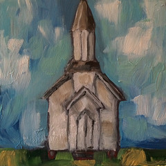 Little White Church (Art by Trish Jones (theOldPostRoad)) Tags: original white building cute art church painting jones artwork day little trish country craft scene athens mothers gift