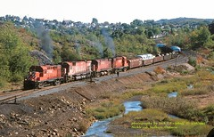 .(SEE & HEAR), CP 1855, Nickle Sub, Sudbury, ONT. 9-16-1993 (jackdk) Tags: railroad train railway sudbury locomotive canadianpacific cp cpr alco mlw rs18 bignickle m630 standardcab m636 mlw636 nicklesub mlw425