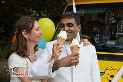 Ice cream! Rupesh always wanted an ice cream van on his wedding day :D Rupesh and Virgina's wedding day in Oxford by Veiled Productions - wedding photography and videography Cambridgeshire